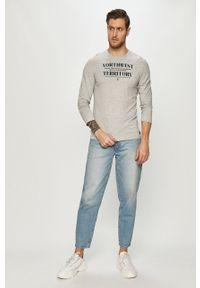Szara koszulka z długim rękawem Tom Tailor casualowa, z nadrukiem #5