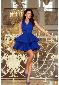 Numoco - Ekskluzywna sukienka z podwójną spódnicą i koronkową górą. Materiał: koronka