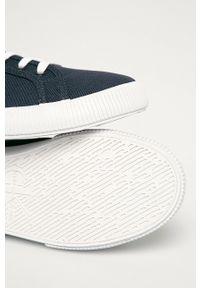 Niebieskie niskie trampki Calvin Klein Jeans z okrągłym noskiem, z cholewką, na sznurówki