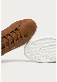 Brązowe sneakersy Levi's® z cholewką, w kolorowe wzory, z okrągłym noskiem
