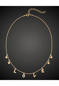SIN BY MANNEI - Choker ze złota Love. Materiał: złote. Kolor: złoty. Wzór: aplikacja. Kamień szlachetny: cyrkonia