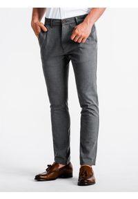 Ombre Clothing - Spodnie męskie chino P832 - szare - XL. Kolor: szary. Materiał: tkanina, elastan, wiskoza, poliester. Styl: klasyczny, elegancki