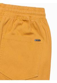 Ombre Clothing - Spodnie męskie joggery P886 - musztardowe - XXL. Kolor: żółty. Materiał: bawełna, elastan. Styl: klasyczny