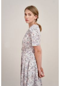 Marie Zélie - Sukienka Alodia Lorica. Materiał: bawełna, satyna, skóra, materiał. Długość rękawa: krótki rękaw