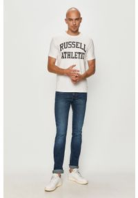 Biały t-shirt Russell Athletic z nadrukiem, na co dzień, casualowy #5