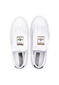 Białe półbuty Adidas z aplikacjami, z cholewką