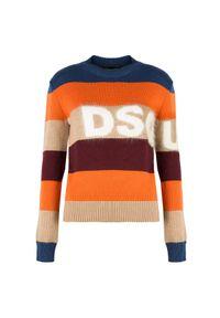 Sweter DSQUARED2 z nadrukiem, z golfem, na co dzień, casualowy