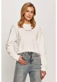 Biała bluza Calvin Klein Jeans na co dzień, bez kaptura, casualowa, długa