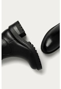 Czarne botki Answear Lab na zamek, na średnim obcasie, z okrągłym noskiem