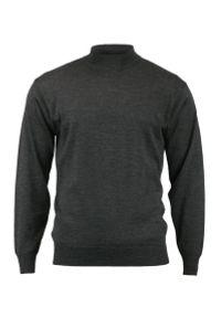 Szary sweter MM Classic klasyczny, z klasycznym kołnierzykiem