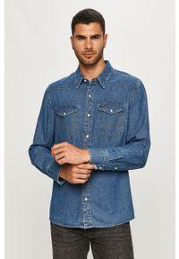 Wrangler - Koszula jeansowa. Typ kołnierza: kołnierzyk klasyczny. Kolor: niebieski. Materiał: jeans. Wzór: gładki. Styl: klasyczny