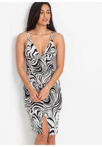 Sukienka bonprix czarno-biały w paski zebry. Kolor: czarny. Długość rękawa: na ramiączkach. Wzór: motyw zwierzęcy, paski