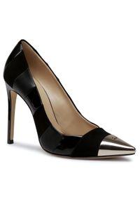 Czarne półbuty Elisabetta Franchi z cholewką, na szpilce, eleganckie