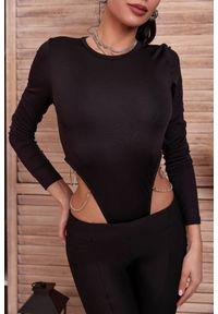 Czarna bluzka IVET z długim rękawem, długa