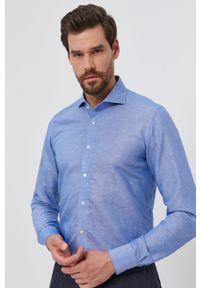 Emanuel Berg - Koszula. Typ kołnierza: kołnierzyk włoski. Kolor: niebieski. Materiał: tkanina. Długość rękawa: długi rękaw. Długość: długie. Wzór: gładki