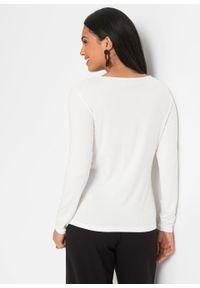Shirt z długim rękawem bonprix biało-brązowy. Kolor: biały. Długość rękawa: długi rękaw. Długość: długie