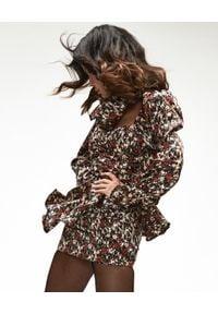 LOVE & ROSE - Czarna sukienka w kwiaty Rosie Satin. Typ kołnierza: dekolt gorset. Kolor: brązowy. Materiał: wiskoza, tkanina, satyna. Wzór: kwiaty. Typ sukienki: asymetryczne, kopertowe, baskinki, dopasowane, gorsetowe. Styl: elegancki