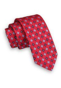 Czerwony Krawat -Angelo di Monti- 6 cm, Męski, w Niebiesko-Granatowe Kwiaty. Kolor: niebieski, czerwony, wielokolorowy. Wzór: kwiaty. Styl: wizytowy, elegancki
