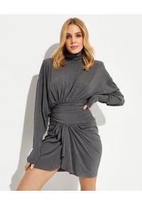 ALEXANDRE VAUTHIER - Sukienka mini z golfem. Typ kołnierza: golf. Kolor: szary. Materiał: materiał. Długość: mini