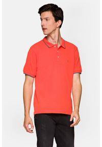 Lancerto - Koszulka Łososiowa Polo Dominic. Typ kołnierza: polo. Kolor: różowy. Materiał: włókno, materiał, bawełna. Długość rękawa: krótki rękaw. Wzór: ze splotem. Styl: klasyczny