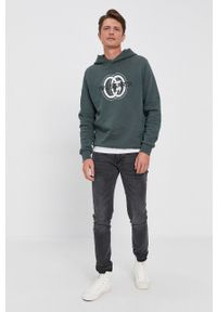 Trussardi Jeans - Trussardi - Bluza bawełniana. Okazja: na co dzień. Typ kołnierza: kaptur. Kolor: zielony. Materiał: bawełna. Wzór: nadruk. Styl: casual