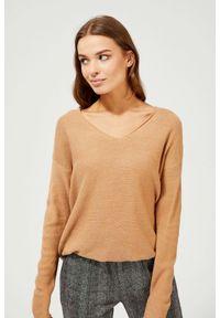Sweter MOODO z długim rękawem, długi, z dekoltem w serek