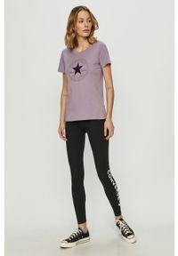 Fioletowa bluzka Converse z nadrukiem, na co dzień, casualowa