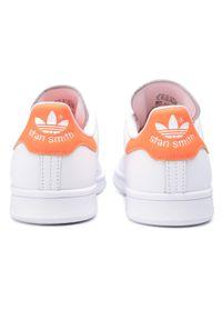 Białe buty sportowe Adidas z cholewką, Adidas Stan Smith, na płaskiej podeszwie