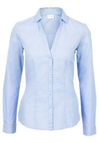 Bluzka ze stretchem bonprix Bluzka ze str.perł.nieb. Kolor: niebieski. Długość rękawa: długi rękaw. Długość: długie