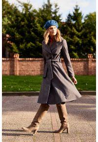 Marie Zélie - Płaszcz wełniany Achillea szary. Kolor: szary. Materiał: wełna. Wzór: motyw zwierzęcy, ze splotem. Sezon: zima