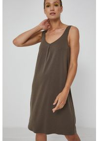 medicine - Medicine - Sukienka Essential. Kolor: zielony. Materiał: dzianina. Długość rękawa: na ramiączkach. Wzór: gładki. Typ sukienki: rozkloszowane