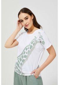 MOODO - T-shirt z nadrukiem żyrafy. Materiał: bawełna, poliester. Długość rękawa: bez rękawów. Wzór: nadruk