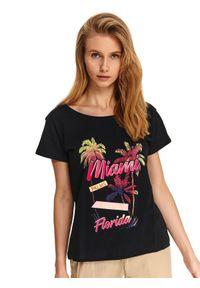 Czarny t-shirt DRYWASH z nadrukiem, na wiosnę