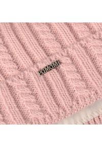Różowa czapka zimowa PaMaMi z aplikacjami #3