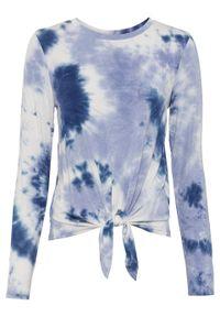 Niebieska bluzka bonprix długa, z nadrukiem, z długim rękawem