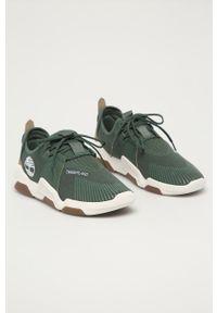Zielone sneakersy Timberland z cholewką, z okrągłym noskiem, na sznurówki
