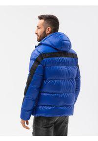 Ombre Clothing - Kurtka męska pikowana C503 - niebieska - XXL. Kolor: niebieski. Materiał: poliester