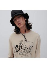 Reserved - Bluzka z długim rękawem Myszka Miki - Beżowy. Kolor: beżowy. Długość rękawa: długi rękaw. Długość: długie