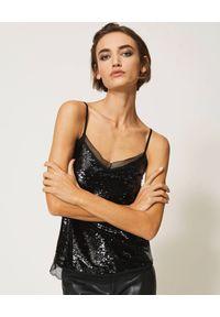 TwinSet - TWINSET - Czarny cekinowy top z koronką. Kolor: czarny. Materiał: koronka. Długość rękawa: na ramiączkach. Wzór: koronka. Styl: glamour