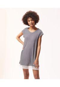Warm Day Koszulka Nocna - Xl - Szary - Etam. Kolor: szary. Materiał: koronka, materiał. Długość: krótkie. Wzór: koronka