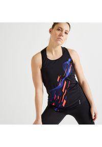 DOMYOS - Koszulka fitness damska Domyos bez rękawów. Kolor: czarny. Materiał: poliester, materiał, elastan. Długość rękawa: bez rękawów. Długość: długie. Sport: fitness