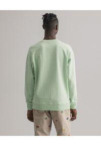 GANT - Zielona bluza z monochromatycznym logo. Kolor: zielony. Materiał: bawełna, jeans. Długość rękawa: długi rękaw. Długość: długie