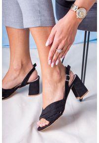 Casu - Czarne sandały na słupku ze skórzaną wkładką casu l20x3/b. Kolor: czarny. Materiał: skóra. Obcas: na słupku