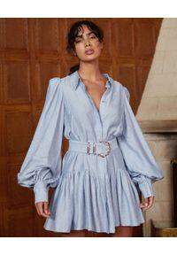 ACLER - Niebieska sukienka Sherwood. Kolor: niebieski. Materiał: tkanina, materiał. Styl: klasyczny. Długość: mini