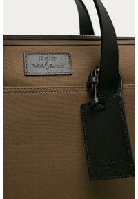Brązowa torba Polo Ralph Lauren biznesowa, gładkie