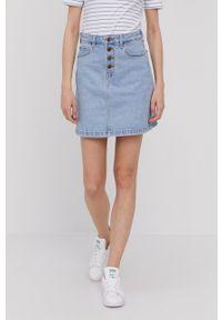 Lee - Spódnica jeansowa. Okazja: na co dzień. Kolor: niebieski. Materiał: jeans. Styl: casual