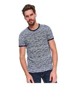 Niebieski t-shirt TOP SECRET na wiosnę, z klasycznym kołnierzykiem, krótki, melanż