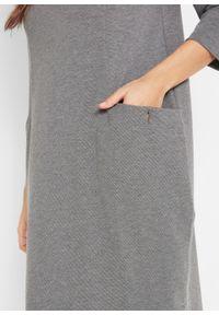 Sukienka bombka Punto di Roma z kieszeniami, rękawy 3/4 bonprix szary melanż. Kolor: szary. Wzór: melanż. Typ sukienki: bombki