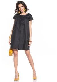 Tessita - Luźna Sukienka z Krótkim Rękawem - Czarna. Kolor: czarny. Materiał: bawełna. Długość rękawa: krótki rękaw