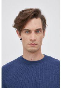 Sisley - Sweter z domieszką wełny. Okazja: na co dzień. Kolor: niebieski. Materiał: wełna. Długość rękawa: długi rękaw. Długość: długie. Styl: casual